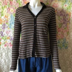 VTG 00s 90s LONG SLEEVE TEXTURED STRIPED TOP